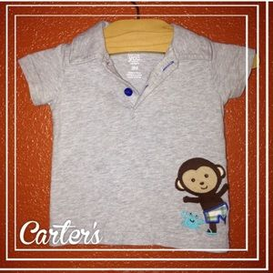 Carter's Gray Monkey Summer Polo 3 Months NEW