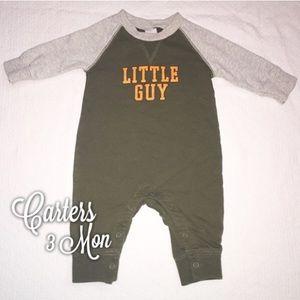 Carters Green Gray Little Guy Sweater Romper 3 Mon