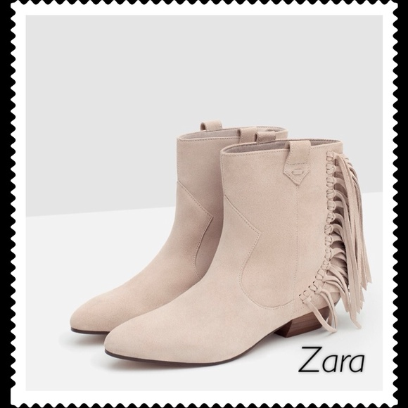 zara authentic suede zara fringe ankle boots from