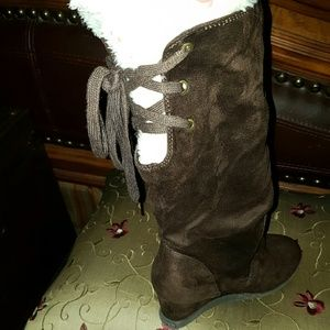 Brown wedge boots with lace up back