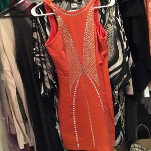 Bebe Orange Studded Dress