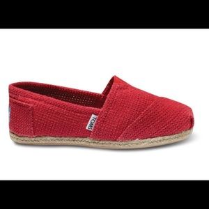 Toms red woven flats
