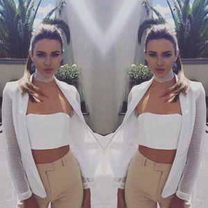 Sabo Skirt Jackets & Blazers - • White Mesh Jacket/Blazer