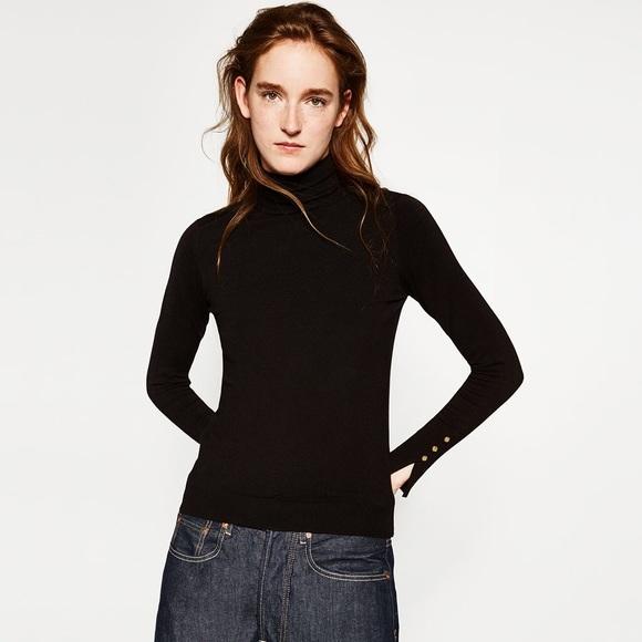 62eff0a394 Zara Tops | Black Turtleneck Size S Gold Button Detail | Poshmark