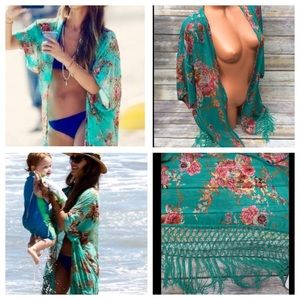 Other - Jade Floral Kimono/Cover Up