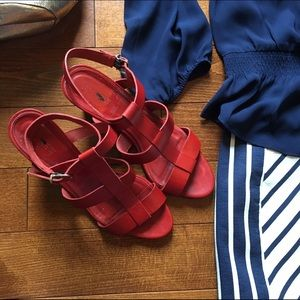 J. Crew Shoes - Olympia wedge sandal in red