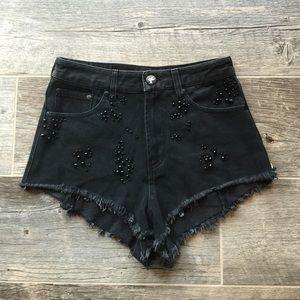 One Teaspoon Faded Black Beaded Shorts Size 26