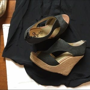 Seychelles Shoes - Black linen espadrilles wedges