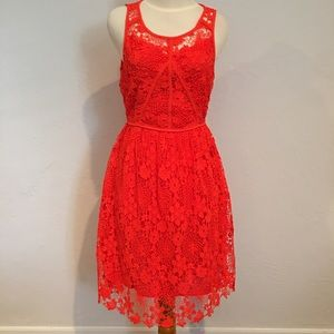 SUGAR + LIPS Short Sleeve Orange Lace Dress M NWT