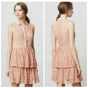 Anthropologie Dresses & Skirts - 💙HP!💙 Anthro Dusty Pink Tiered Lace Shirt Dress