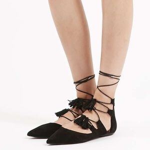 Topshop Shoes - New Topshop Lace Up Tassel Flats