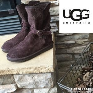 UGG Suede and Sweater Knit Boot/Chocolate/sz 6