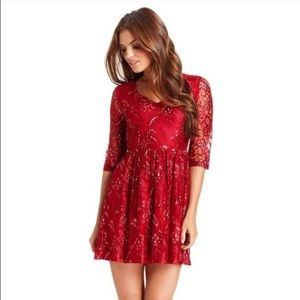 Kensie Red Metallic Lace Dress