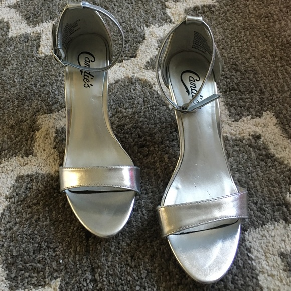 ab5bd29fc321 Candies Silver Ankle Strap Heels 6.5