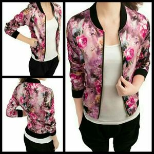 Jackets & Coats - Satin Floral Bomber Jacket