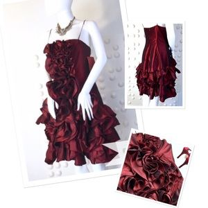 JS Collections Dresses & Skirts - JS Collection Red Wine Hyper Ruffle Cocktail Dress