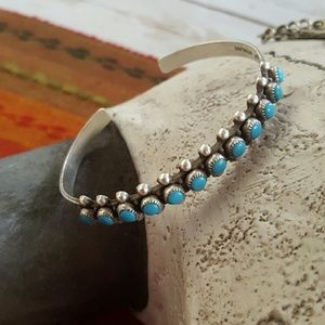 Zuni Snake Eye Turquoise Sterling Silver Cuff old