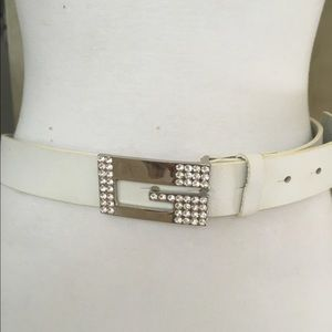 Guess Accessories - White real leather belt Swarovski crystal buckle