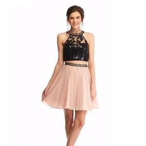 Sequin Hearts Dresses & Skirts - My Michelle Lace and Mesh Two-Piece Halter Dress