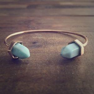 Jewelry - Goldtone Light Blue Adjustable Cuff Bracelet