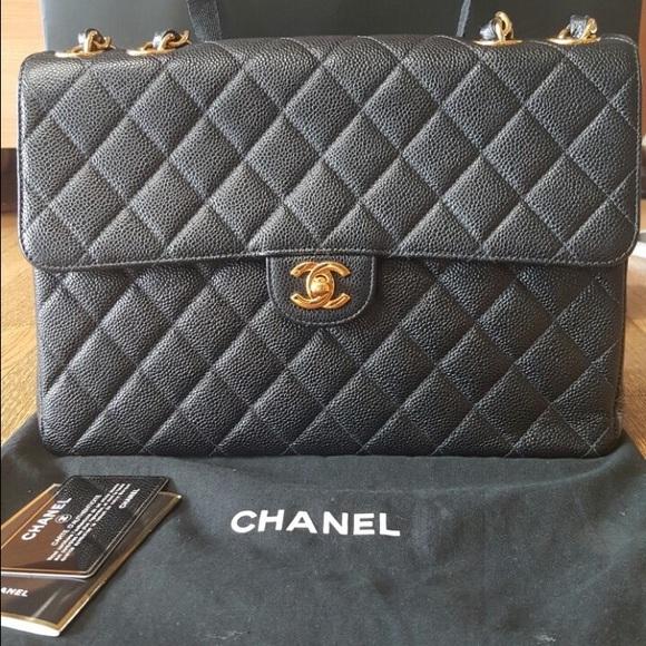 f061c031a82b22 CHANEL Bags | Sold Jumbo Vintage Single Flap Caviar | Poshmark