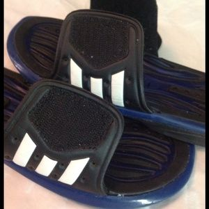 a6c299eb313eb Adidas Shoes - Adidas size 8 flip flops -blue   black- Velcro top