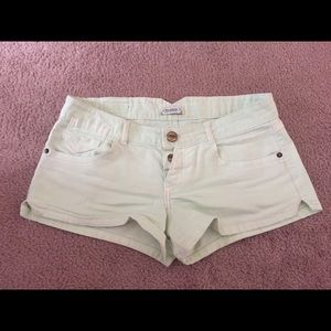 Pull&Bear Pants - Mint Green Button Fly Shorts