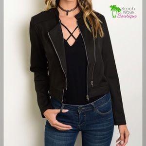 Beach Wave Jackets & Blazers - Black Moto Jacket