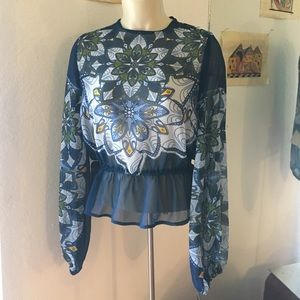Angie Tops - 🆕  Blue Floral Long Sleeve Sheer Blouse Top