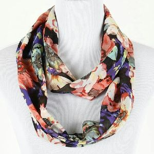 Accessories - Floral Print Infinity Scarf