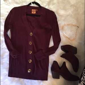 Tory Burch Wine Cardigan