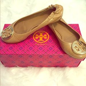 Tory Burch Nude Patent Leather Reva Flats