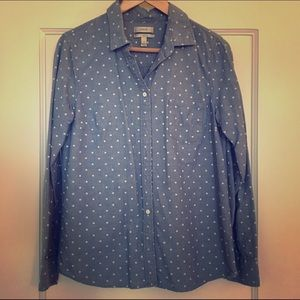 J. Crew Tops - J. Crew Chambray Shirt with Polka Dots