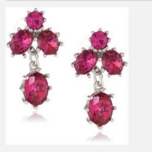 Betsey Johnson Iconic Stone Fuchsia Stud Earrings