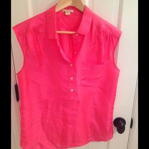 J. Crew hot pink silk shirt size 4
