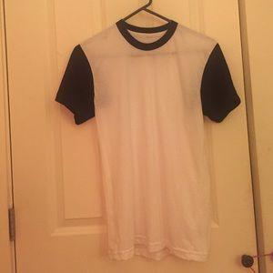 American Apparel   Black and White baseball tshirt
