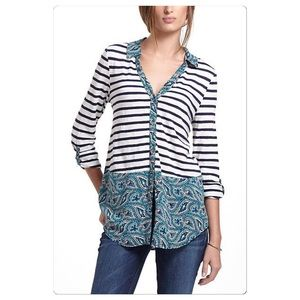 Anthropologie Woven Borders Buttondown