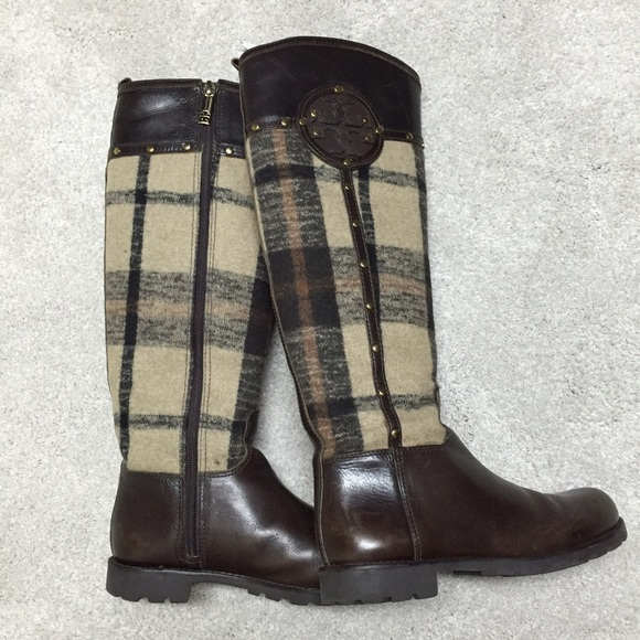 a18101e51ed2 Tory Burch Plaid Riding Boots Size 6 1 2. M 57df315999086adf27048633
