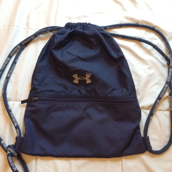 "6ef6ab67936a Navy blue Under Armour drawstring bag. OFF36% The Largest Catalog Discounts""  ..."