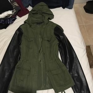 Forever 21 Jackets & Blazers - Parka jacket faux leather sleeves