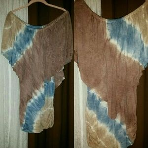 Tie dye off the shoulder tunic