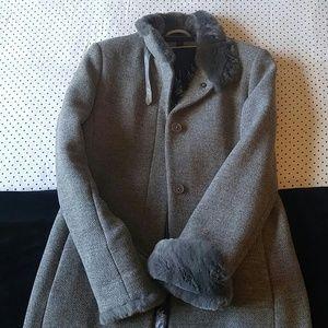 New Via Spiga Gray marled wool coat with real fur