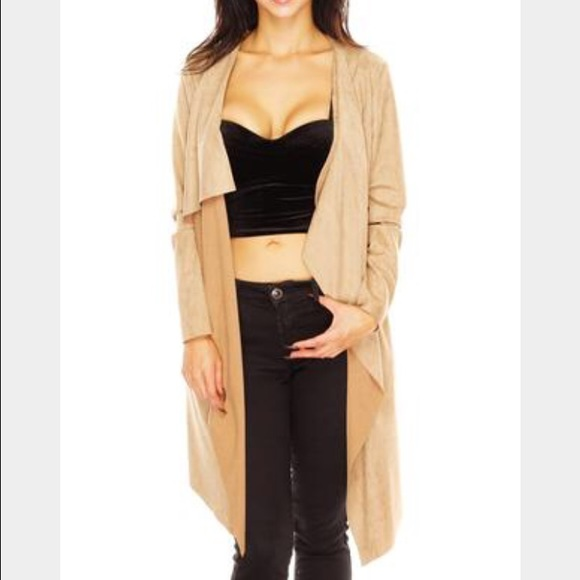 70% off Zina Sweaters - Zina Suede Tan Waterfall Duster Cardigan ...