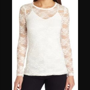NWT, Beautiful Ivory Lace Long-sleeve Top!