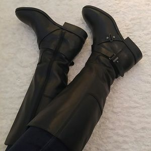 New black leather boots