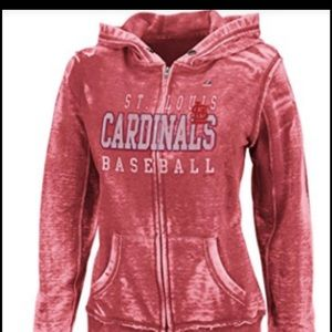Majestic Tops - St. Louis Cardinals Burnout Zip-up Hoodie