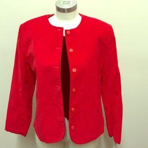 Round Collar Red Blazer