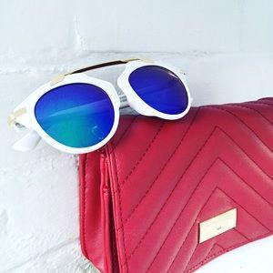 """Erica Rose Accessories - """"Ellie"""" Sunglasses    White & Blue Mirror"""