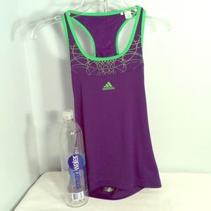 Adidas purple and lime trim razorback tank