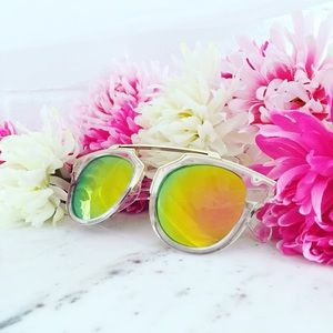 """Erica Rose Accessories - """"Madeline"""" Sunglasses    Clear & Pink Mirror"""